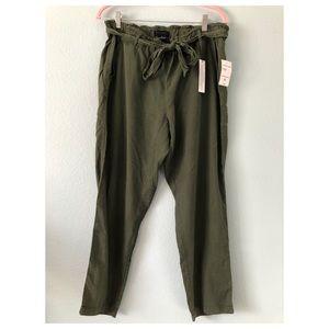 Sanctuary olive green paperbag tiewaist pants